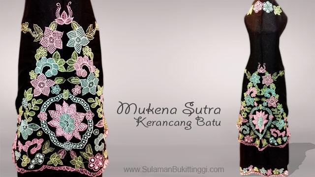 Mukena Bahan Sutra premium, mukena bordir kerancang, contoh mukena kerancang batu khas bukittinggi